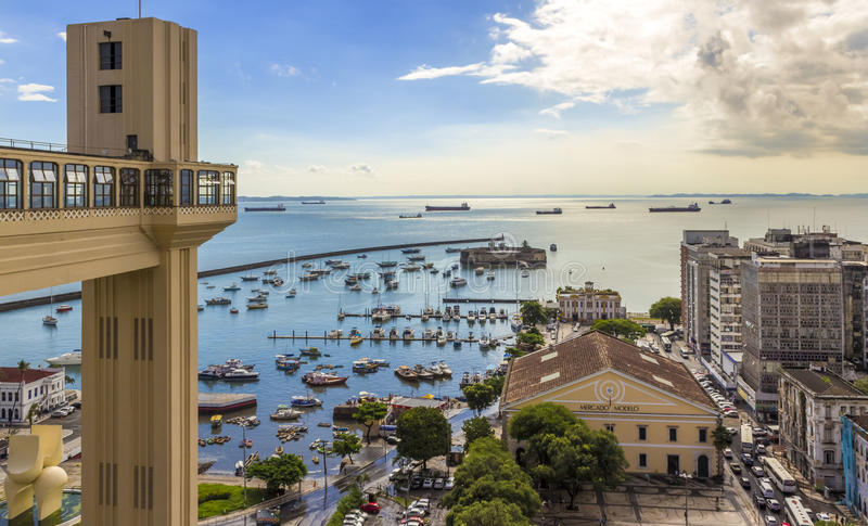 Bahia de Todos os Santos. Aerial view of Bahia de Todos os Santos in Salvador, Bahia, Brazil, showcasing the famous Lacerda elevator and Modelo Market with the royalty free stock images