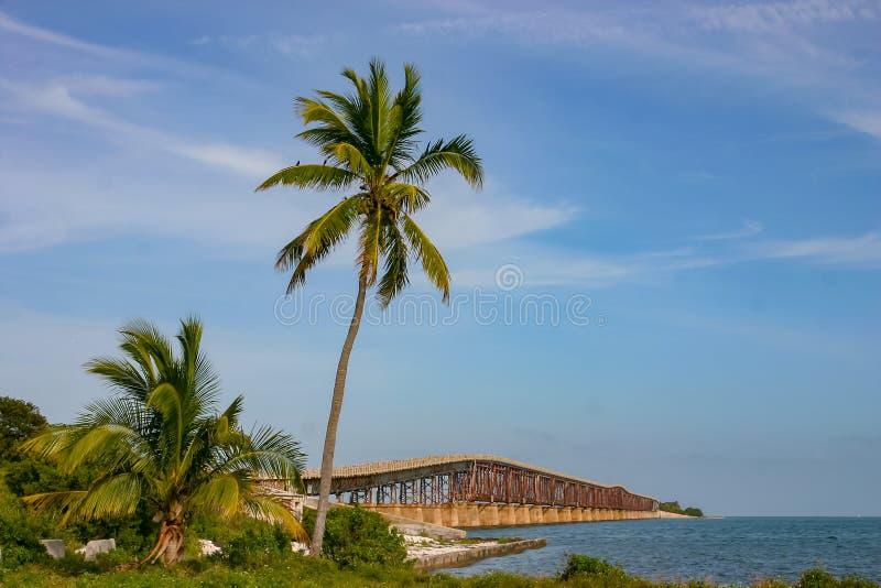 Bahia Honda Rail Bridge at Big Pine Key. The Bahia Honda Rail Bridge and Big Pine Key at lower Florida Keys stock image
