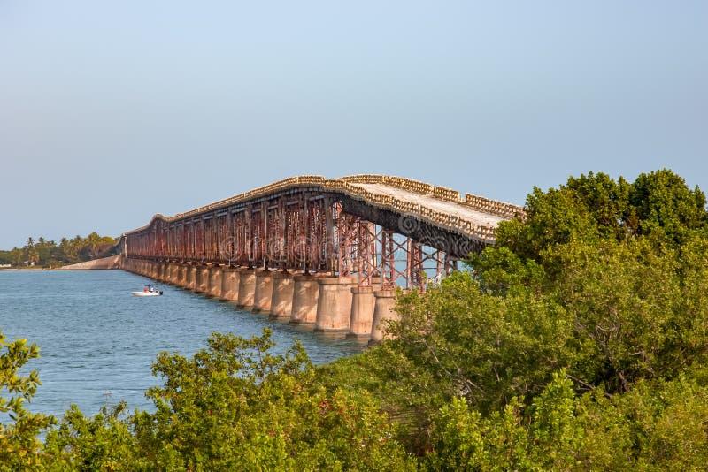 Bahia Honda Rail Bridge i stort sörjer tangent arkivfoton