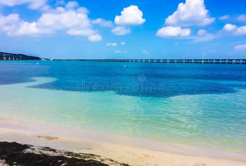 Bahia Honda state park with bridge royalty free stock photos