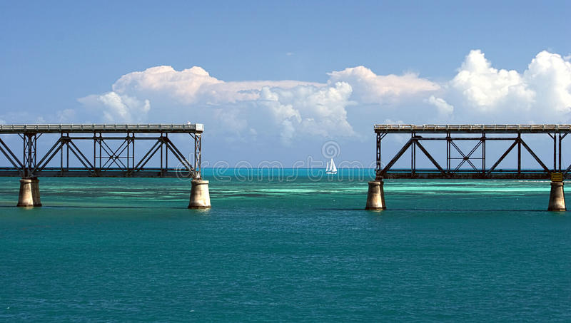 Bahia Honda Train Bridge royaltyfri foto