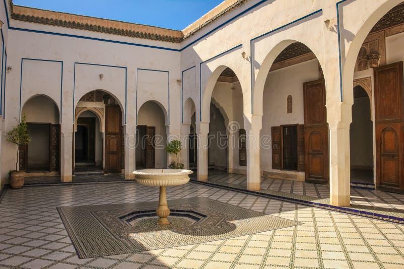 Bahia pałac wewnętrzny jard marrakesh Maroko zdjęcie royalty free