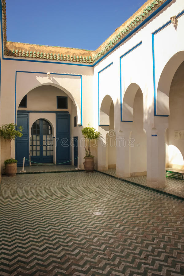 Bahia pałac wewnętrzny jard marrakesh Maroko fotografia royalty free