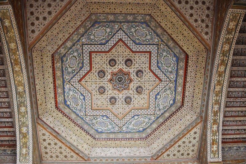 Bahia Palace geometric decoration of wooden Ceiling stock image