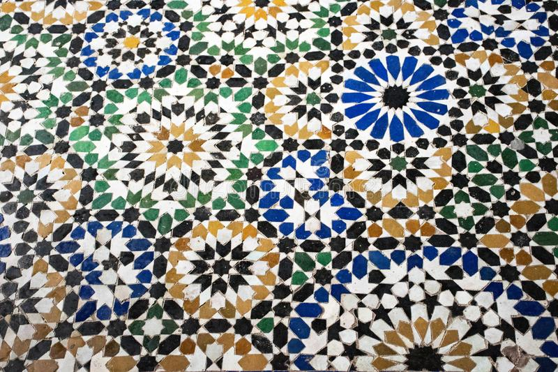 Bahia palace morocco. Detailed mosai floor. Antique. Moroccan handmade tiles. Colorful background. royalty free stock image