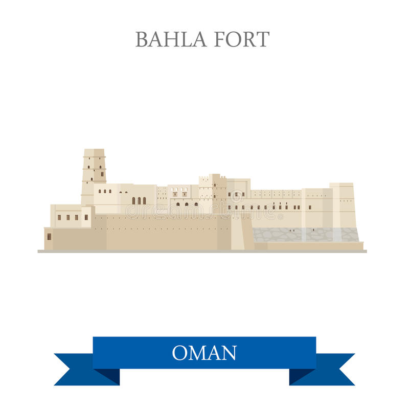 Bahla Fort in Oman vector flat attraction travel landmark. Bahla Fort in Oman. Flat cartoon style historic sight showplace attraction web site vector stock illustration