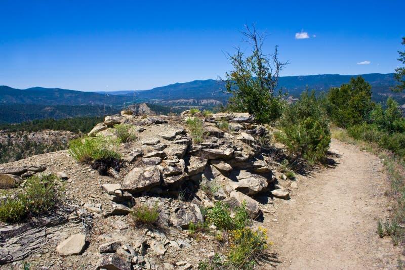 Bahn durch die Wildnis am Kamin-Felsen in Colorado lizenzfreie stockfotos