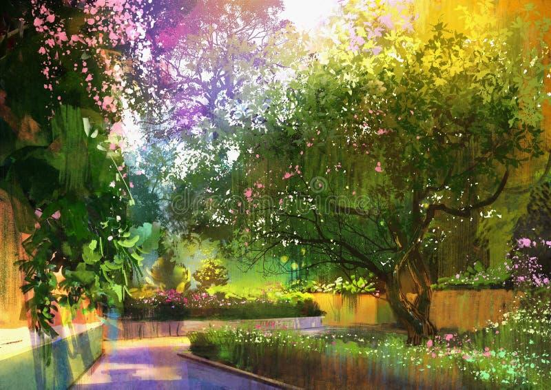 Bahn in einem ruhigen grünen Park, malend vektor abbildung