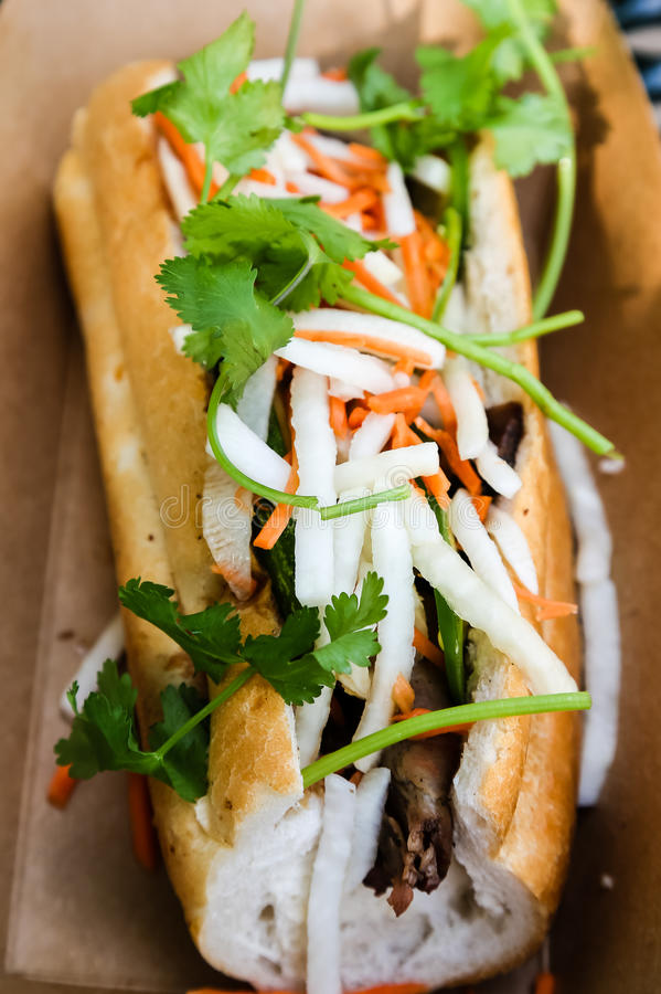 Bahn Mi Sandwich in Cardboard Container royalty free stock photography