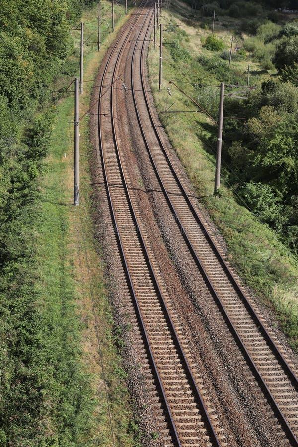 Bahnbiegung stockbild