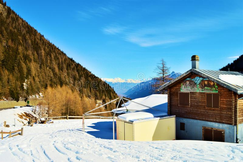 Bahnen in den Schweizer Alpen lizenzfreies stockfoto
