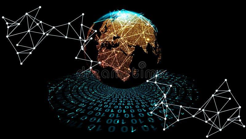 Bahnen der globalen Informationen Bahnen der digitalen Daten Weltnetztechnik Technologiekommunikation vektor abbildung