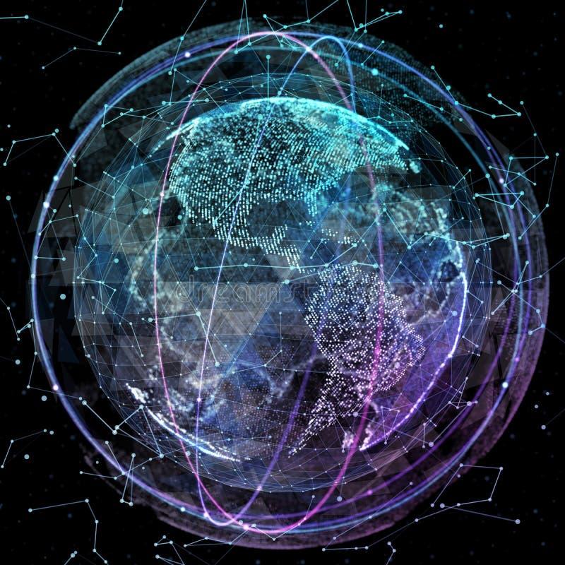 Bahnen der globalen Kommunikation stock abbildung