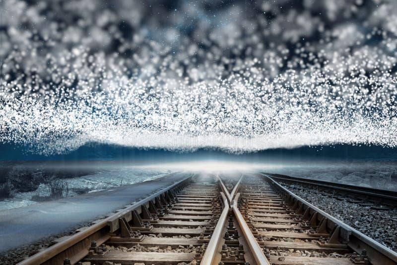 Bahngleise unter Decke von Sternen lizenzfreie abbildung