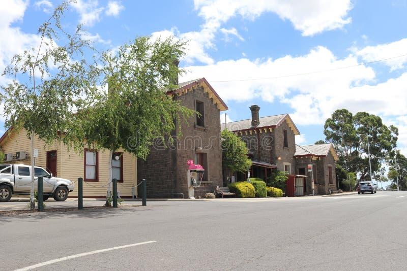 Bahnhof 1862 Kyneton ist auf der Bendigo-Linie in Victoria, Australien lizenzfreie stockfotografie