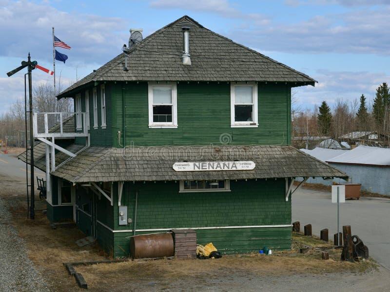 Bahnhof in Nenana Alaska lizenzfreies stockfoto