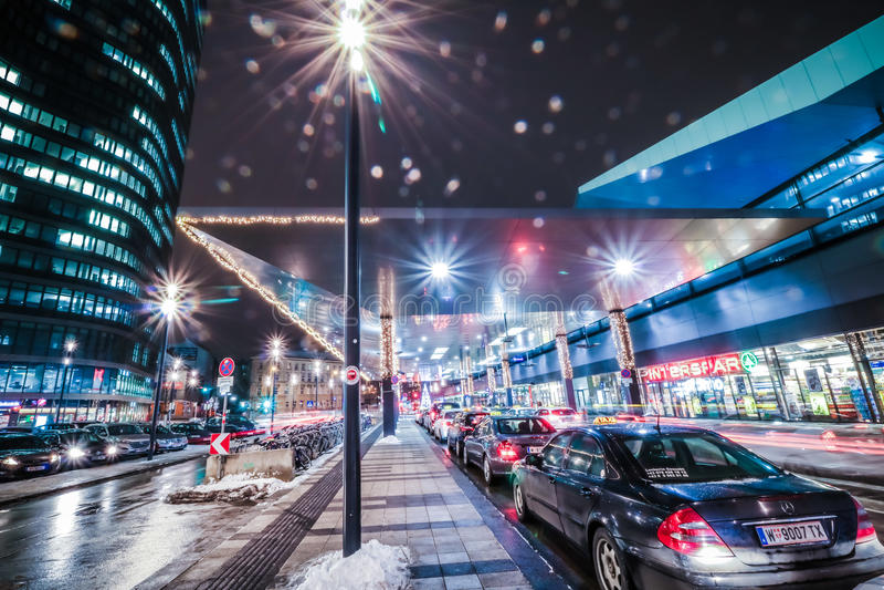 ` Bahnhof Stad ` een nieuw district in Wenen royalty-vrije stock afbeeldingen