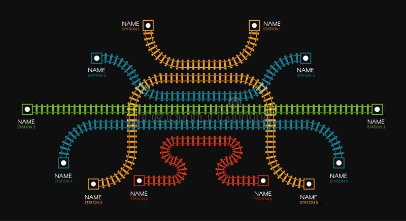 Bahnstrecken, Bahnhof, Zugdiagramm Farbtreppe oder -zaun Vektorillustration auf schwarzem Hintergrund vektor abbildung