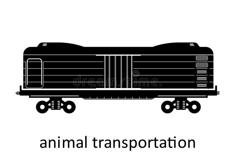 Bahnwagen des Tiertransportes mit Namen Fracht befördern Versenden-Transport Vektorillustration Seitenansicht lokalisierte lizenzfreie abbildung