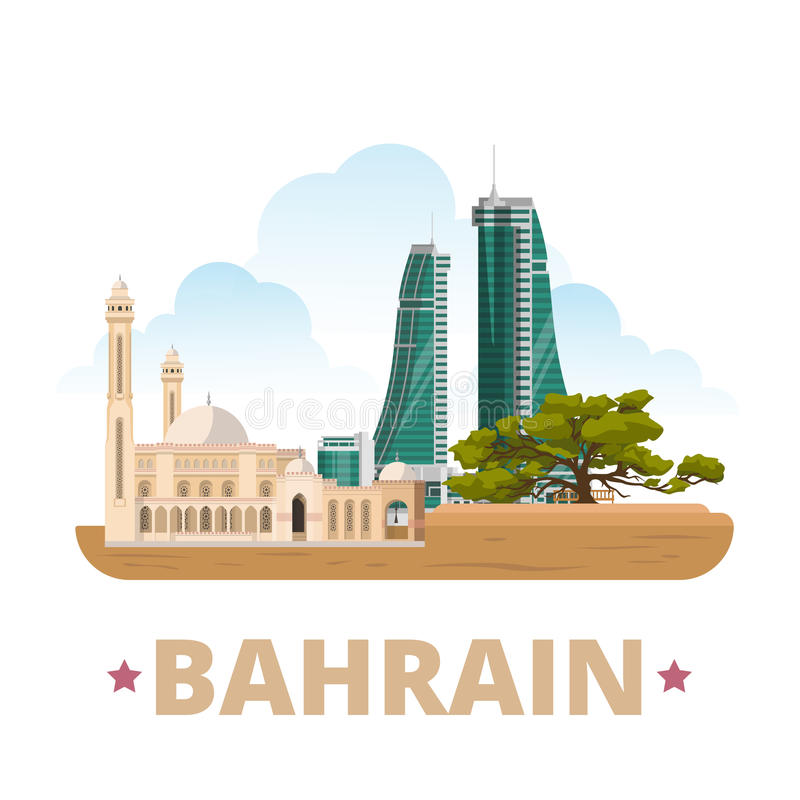 Bahrain country design template flat cartoon style stock for United international decor bahrain