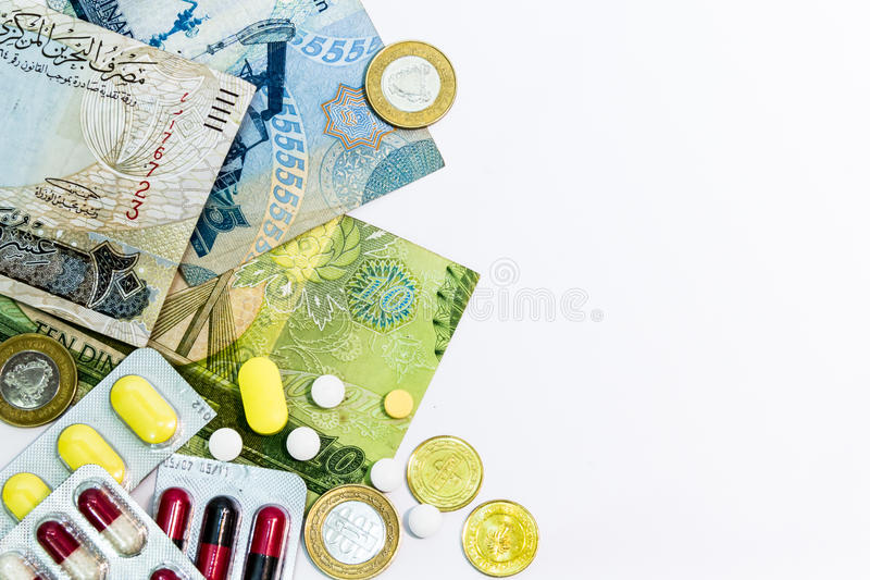Download Bahrain Currency And Medicine Close Up Arranged On Left Stock Photo - Image of medical, tablet: 39511416
