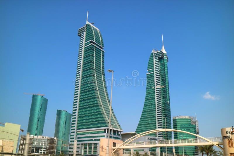Bahrain Financial Harbour District in Manama met Stunning Landmark, Koninkrijk Bahrein royalty-vrije stock foto
