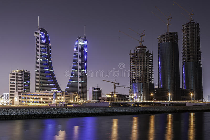 bahrain finansiell hamn royaltyfri fotografi