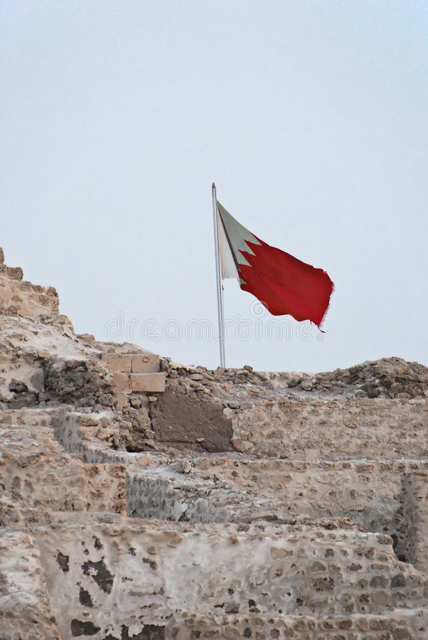 Bahrain Flag on top of Bahrain Fort stock photo