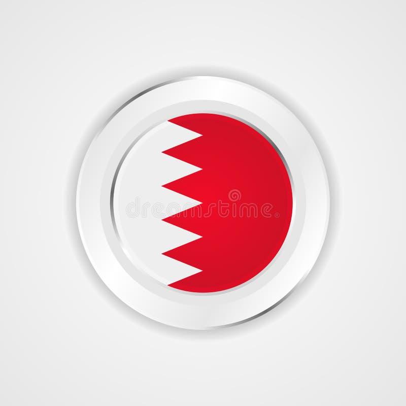 Bahrain flagga i glansig symbol stock illustrationer