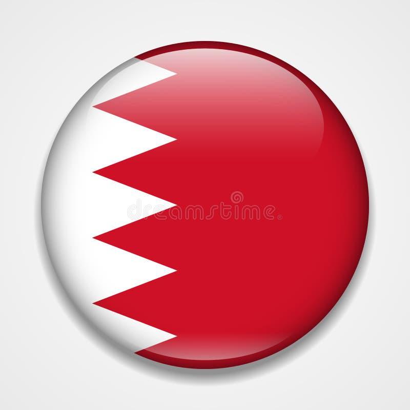 bahrain flagga Runt glansigt emblem royaltyfri illustrationer