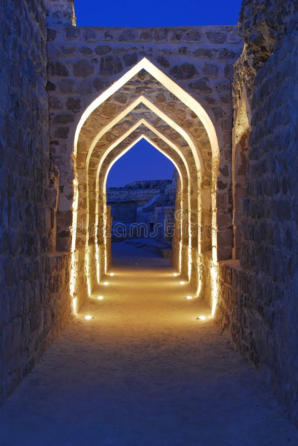 Bahrain Fort at Dusk 2 stock images