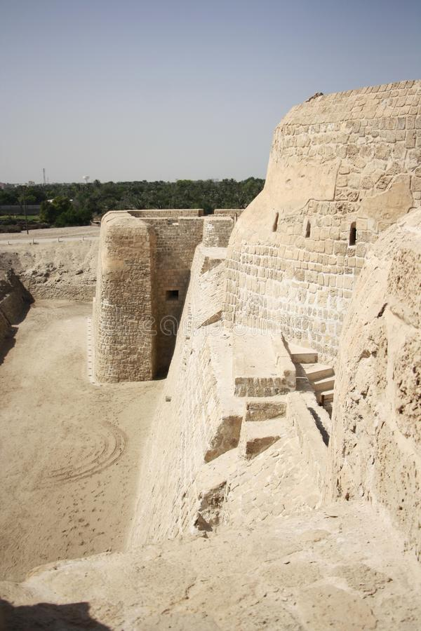 Bahrain Fort. Or Fort of Bahrain and previously as the Portugal Fort - archeological site located west of Manama, the capital of Bahrain. The current fort was royalty free stock photo