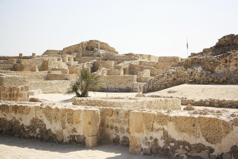 Bahrain Fort. Or Fort of Bahrain and previously as the Portugal Fort - archeological site located west of Manama, the capital of Bahrain. The current fort was stock images