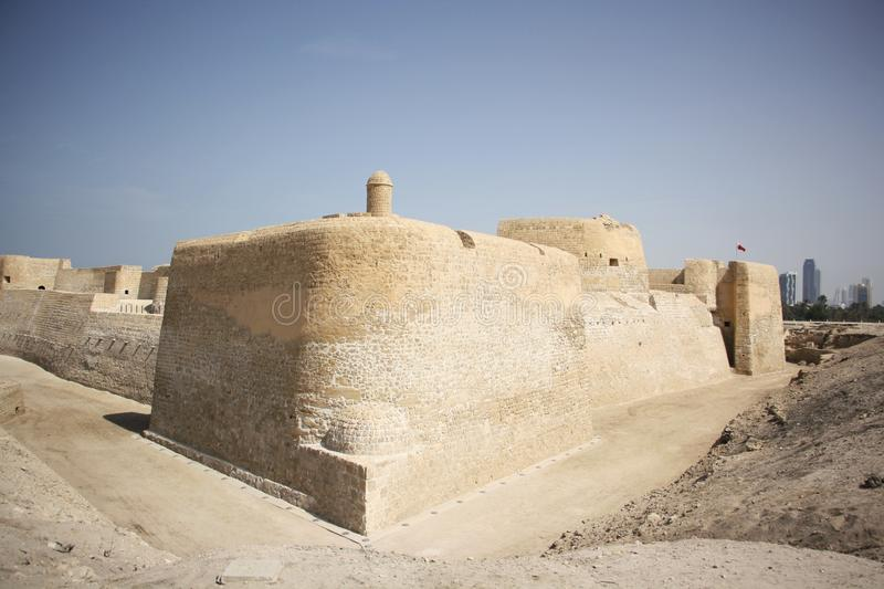 Bahrain Fort. Or Fort of Bahrain and previously as the Portugal Fort - archeological site located west of Manama, the capital of Bahrain. The current fort was stock photos