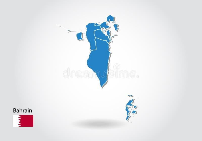Bahrain-Kartenentwurf mit Art 3D Blaue Bahrain-Karte und -Staatsflagge Einfache Vektorkarte mit Kontur, Form, Entwurf, auf weißem vektor abbildung