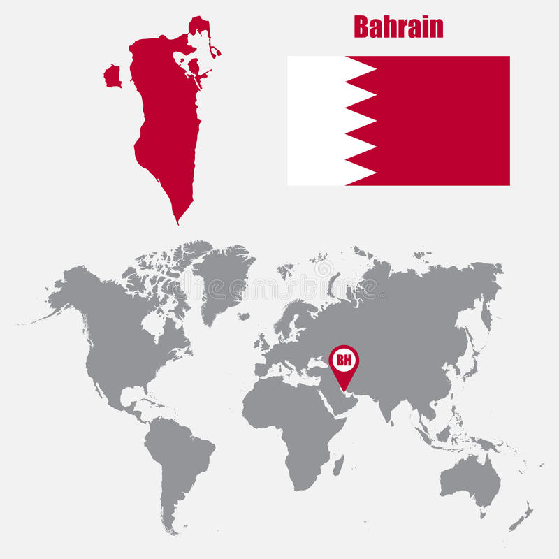 Bahrain map on a world map with flag and map pointer vector download bahrain map on a world map with flag and map pointer vector illustration stock gumiabroncs