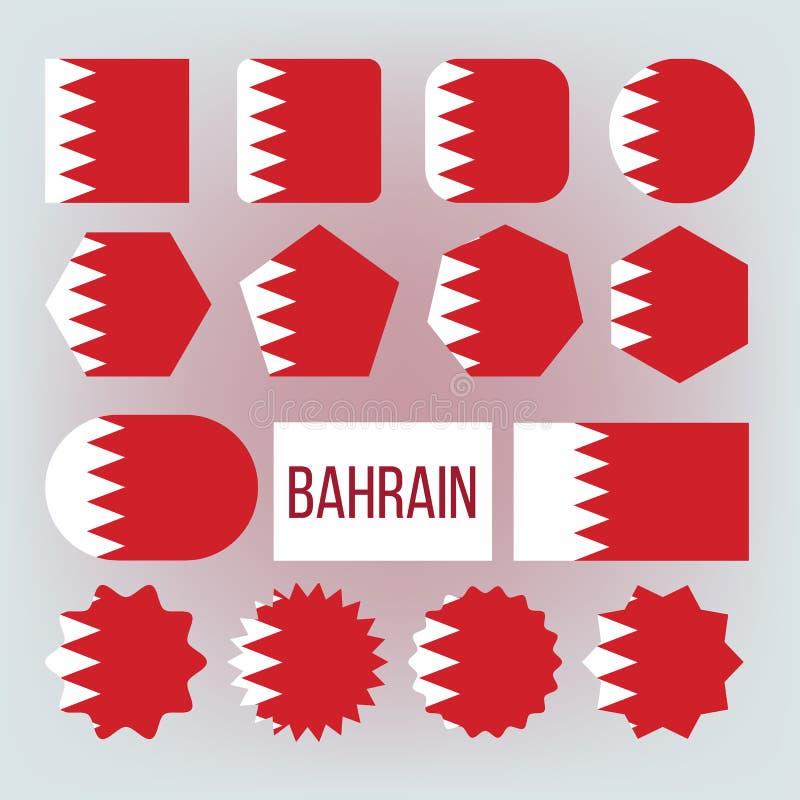 Bahrain nationella färger, uppsättning för gradbeteckningvektorsymboler royaltyfri illustrationer