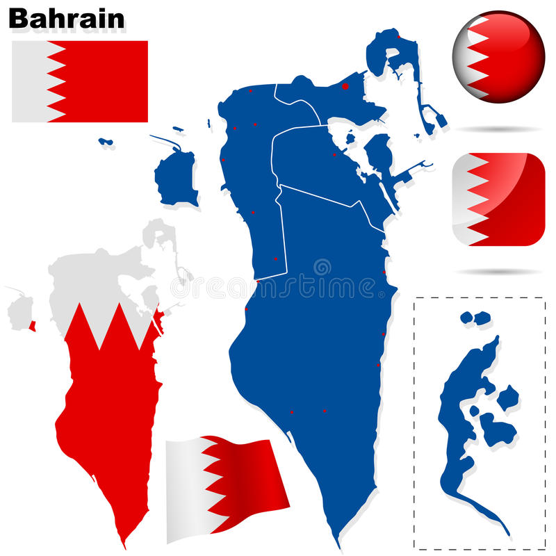Bahrain Shape And Flags Set. Royalty Free Stock Photography