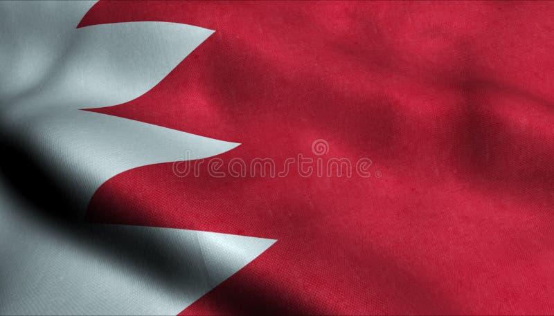 Bahrain vinkande flagga i 3D stock illustrationer