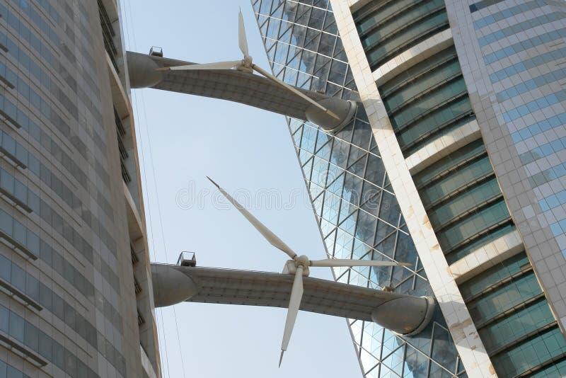 Bahrain World Trade Center building detail. Bahrain World Trade Center building. Wind turbines detail stock images