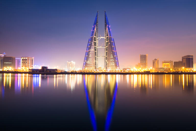 Bahrain World Trade Center. A long exposure shot of Bahrain World Trade Center taken at golden hour stock images