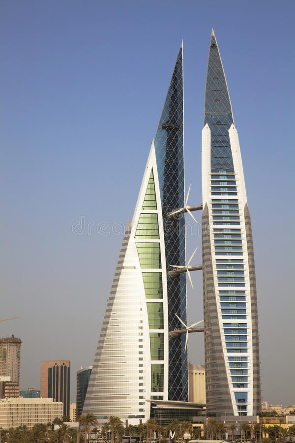 Bahrain World Trade Center, Manama, Bahrain. Image of Bahrain's iconic building, the Bahrain World Trade Center, Manama, Bahrain royalty free stock photo