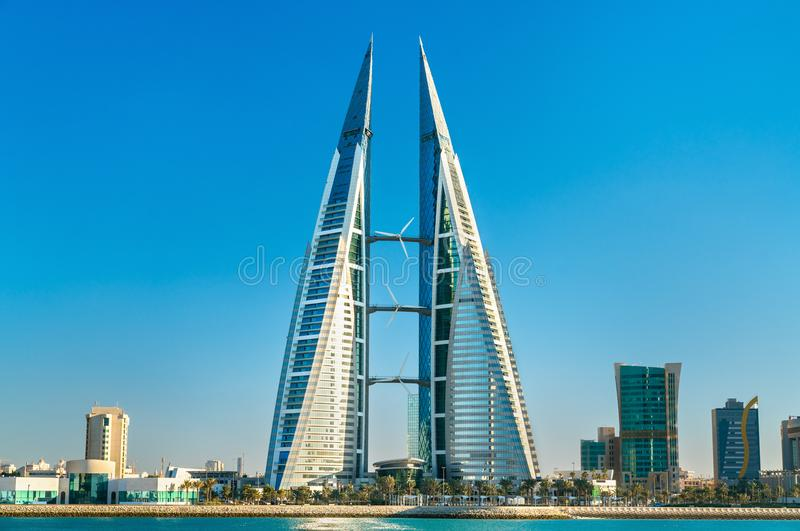 Bahrain World Trade Center in Manama. The Middle East. Bahrain World Trade Center in Manama. The Persian Gulf royalty free stock images