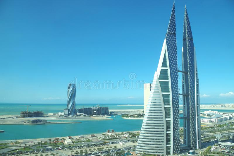 The Bahrain World Trade Center is a 240-metre-high, 50-floor, twin tower complex located in Manama with the famous twisted spiral stock photos