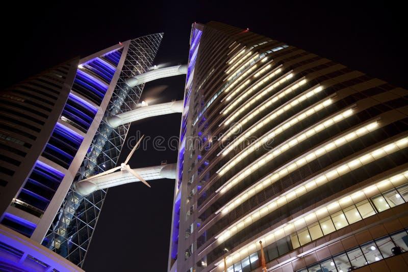 Download Bahrain World Trade Centre At Night, Bahrain Stock Image - Image: 14580695