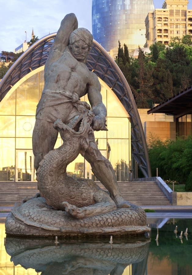 Bahram Gur die de Draak doden stock afbeeldingen