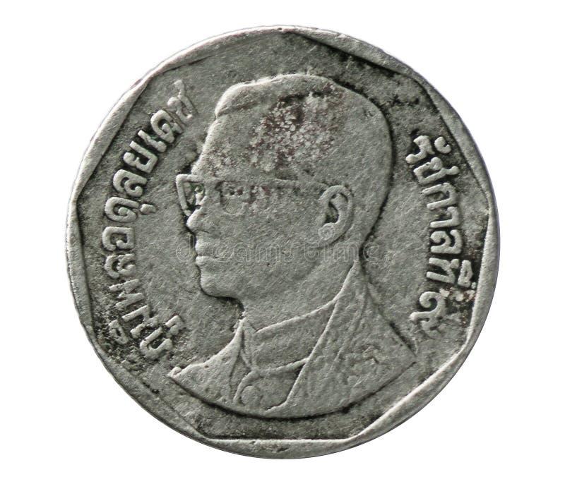 5 Baht coin, Bank of Thailand. Rama IX Bhumipol Adulyadej serie, Reverse, 1988. Isolated on white stock image