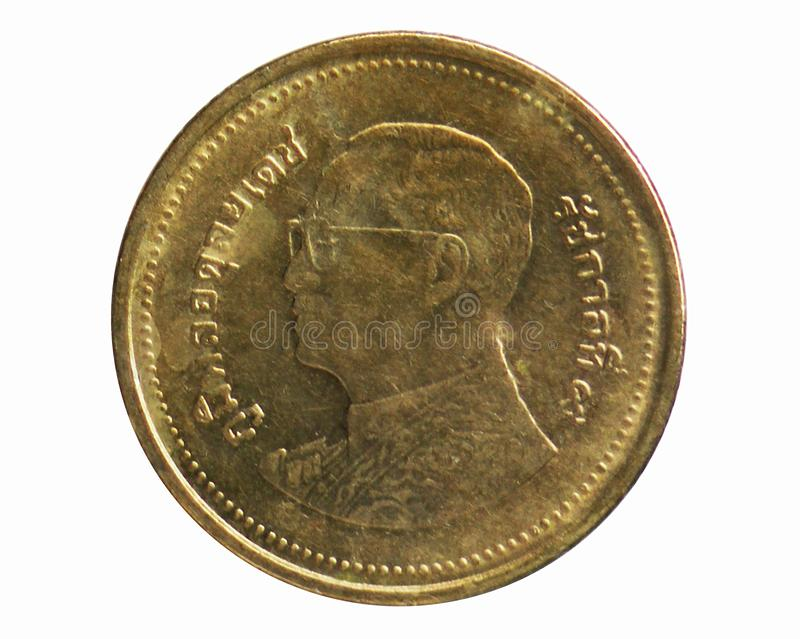 2 Baht coin, 2008~2016 - Rama IX New Portrait serie, Bank of Thailand. Reverse, issued on 2008. Isolated on white stock image