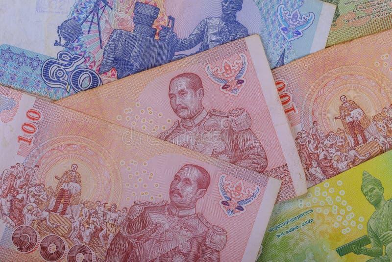 Baht de los billetes de banco desarrollo económico y comercio de Tailandia imagen de archivo