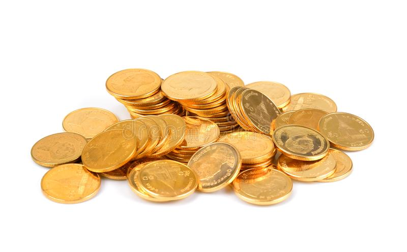 Baht tailandés del oro, dinero, moneda tailandesa, escalera tailandesa del baño de las monedas del dinero imagenes de archivo